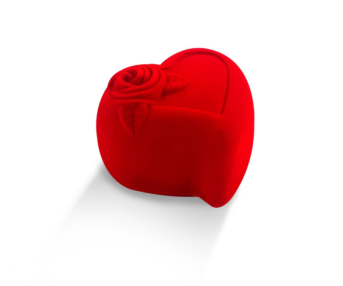 קופסת קטיפה לב לעגיל