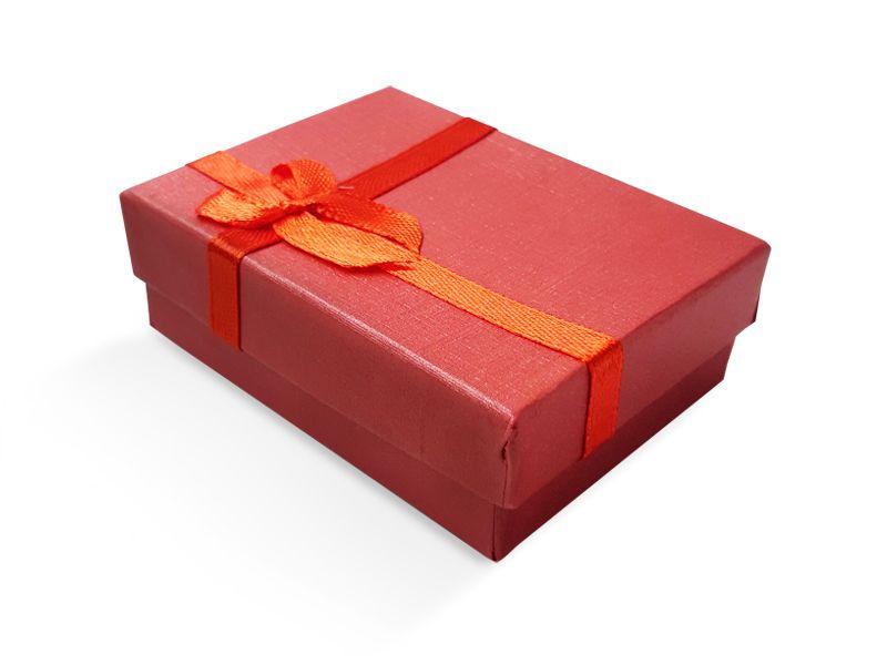 קופסה אדומה עם סרט לעגיל/תליון 6X8