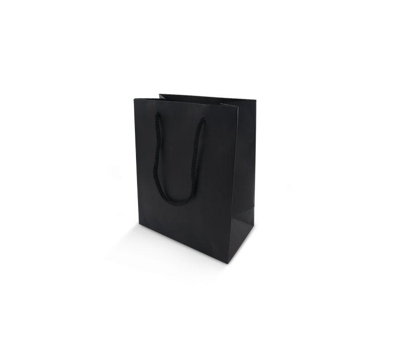 שקית אריזה שחורה חלקה - 12X17