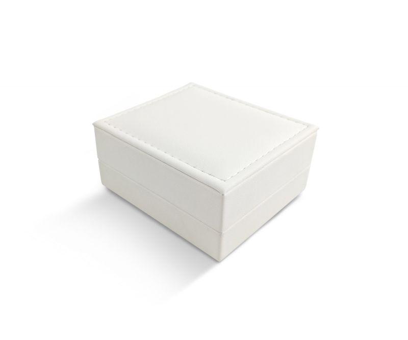 קופסת לד לבנה דמוי עור לתליון - 8.5X7.5