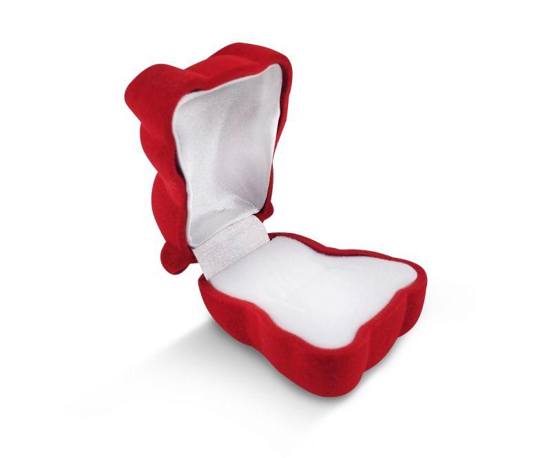 קופסת קטיפה לטבעת - דובי אדום