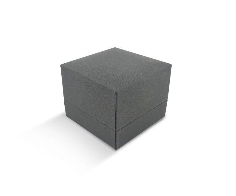 קופסת דמוי עור אפורה שטוחה גדולה לטבעת