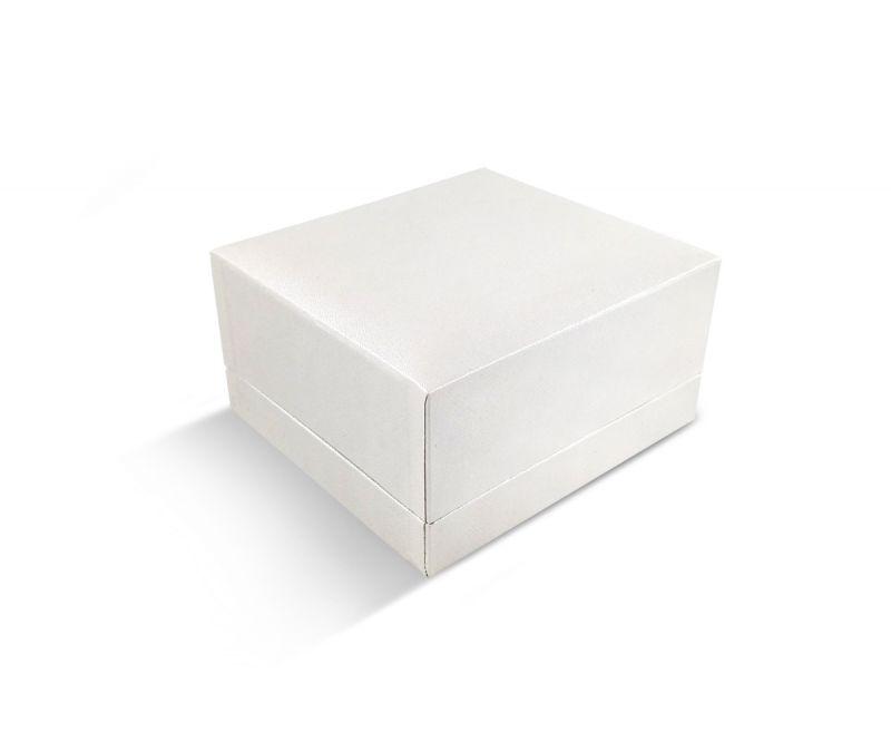 קופסת דמוי עור לבנה שטוחה לצמיד קשיח/שעון