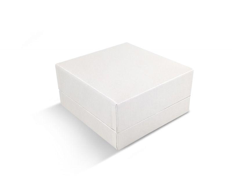 קופסת דמוי עור לבנה שטוחה לעגיל/תליון 7X7