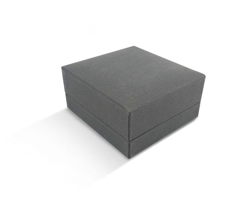 קופסת דמוי עור אפורה שטוחה לעגיל/תליון 7X7